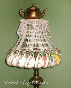 Repurposed Vintage Teacup Lampshade