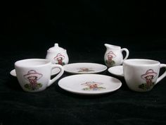 VTG 10 Piece Child's Toy China Tea Set / FLAWED / FREE SHIPPING