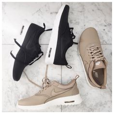 hot sale online ec4b9 27831 Nike Air Max Thea Leather Sneakers Tan Nike Shoes, Nike Shoes Tumblr, Shoes  Heels
