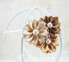 Gold Flower Headband Ivory Champagne Gold & by TheFairyFactoryShop