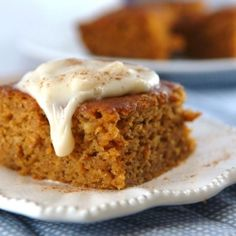 Skinny pumpkin-banana bars with cream cheese frosting!