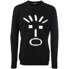 Fendi Men's Black Wool Sweater ($695) ❤ liked on Polyvore featuring men's fashion, men's clothing, men's sweaters, black, sweaters, mens sweaters, mens woolen sweaters and mens wool sweaters