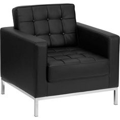 Offex Hercules Lacey Series Contemporary Black Leather Chair with Stainless Steel Frame (Black)