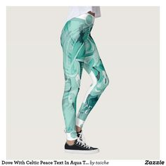 Shop Dove With Celtic Peace Text In Aqua Tones Leggings created by taiche. Personalize it with photos & text or purchase as is! Workout Leggings, Women's Leggings, Christmas Leggings, Look Cool, Dressmaking, Things That Bounce, Hand Sewing, Celtic