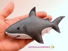Felt SHARK stuffed felt Shark magnet or ornament cute Shark Felt Crafts Diy, Diy Arts And Crafts, Crafts To Do, Kids Crafts, Felt Patterns, Craft Patterns, Felt Fish, Cute Shark, Felt Mobile