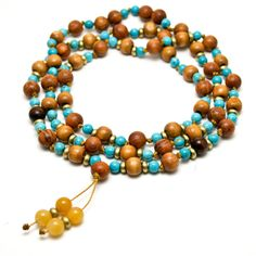 Turquoise and Wood Mala Beads
