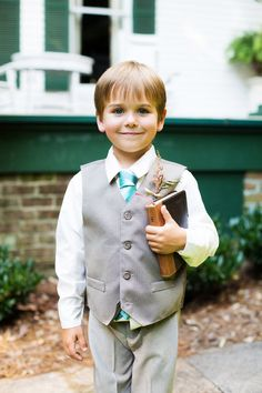 The Bible Boy - Katie + Kenny's Wedding  {The Fillauer House - Cleveland, TN} Photo By Caressa Rogers Photography #gray #teal