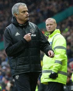 Manager Jose Mourinho of Manchester United walks off after the Premier League match between Manchester United and Chelsea at Old Trafford on April 16...