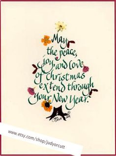 Calligraphy Christmas Card by judyorcutt on Etsy, $4.50