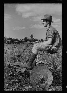 Young resettlement farmer with harrow, Grady County, Georgia
