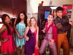 Tina, Santana, Brittany, Blaine, and Mike in Saturday Night Glee-ver