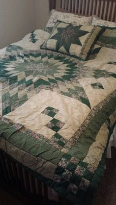 My second ever quilt made in 2000 (I saw a pic in a magazine and duplicated it with graphing paper); its rather beat up after all these years.