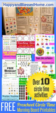 Over 10 FREE Preschool Circle Time Morning Board Printables from HappyandBlessedHome.com Create a circle time game with activities and crafts for teachers, students, preschoolers, homeschoolers, grandparents, and parents. Fun graphics and DIY morning board tutorial. Great resources for teaching young children - perfect for back to school!