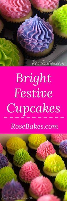 Bright Festive Cupcakes by RoseBakes.com