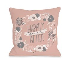 "One Bella Casa Happily Ever After Throw Pillow Cover by Loni Harris, 16""x 16"", Blush/Rose/Gray"