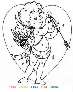 CupidLove may strike you during the Valentine holiday. This color by number is a fun coloring page to decorate for Valentine's Day. Cool Coloring Pages, Coloring For Kids, Valentine Heart, Valentines, Color By Number Printable, Valentine Coloring Pages, Color By Numbers, Alphabet And Numbers, Cupid