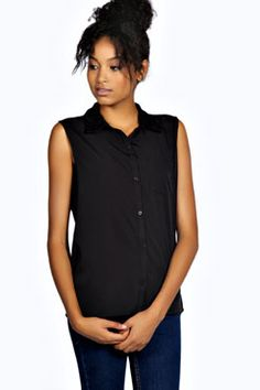Sarah Sleeveless Woven Shirt at boohoo.com