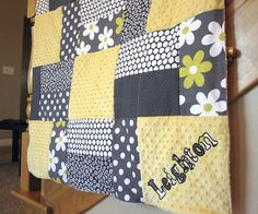 Personalized Citron n' Plain Jane Minky Quilt in by KNHDesigns, $85.95