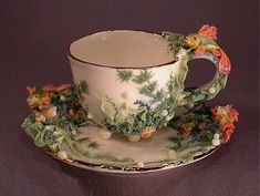 Porcelain Art Tea Cup & Saucer from zotovaelena. Tea Cup Set, My Cup Of Tea, Tea Cup Saucer, Tea Sets, Vintage Cups, China Tea Cups, Teapots And Cups, Deco Table, Porcelain Ceramics