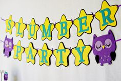 Night Owl Slumber Party Banner by Pinwheel Lane on etsy