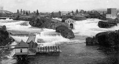 Then and Now: Spokane River middle falls Spokane Tribe, Spokane Falls, Washington State History, Liberty Lake, Then And Now Photos, Spokane Washington, Evergreen State, Photography Illustration, Historical Pictures