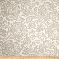 This medium weight jacquard fabric is perfect for window treatments (draperies, curtains, valances), accent pillows, duvet covers, and upholstery. Colors include grey and creamy tan.