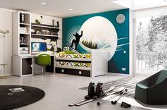 pokój dla dziecka / nastolatka sportowca, biurko, łóżko łatwe do ścielenia, mural, turkus, biały, nowoczesny styl children's room furniture & interior design inspiration