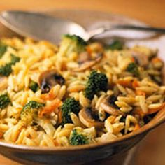Orzo-Broccoli Pilaf Recipe | Key Ingredient  Use vegetable broth instead of chicken broth and added zucchini and kale. Very green and super yummy.