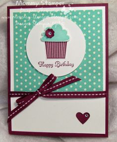 Stampin' Up!, Create a Cupcake, Cupcake Builder Punch, Afternoon Picnic DSP, Rich Razzleberry Ribbon, Birthday, Small Heart Punch, 2014, Retiring List, Mommy Stamper