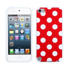 Graphic Rubberized Protective Gel Case for iPod Touch 5th Generation (Polka Dots Red)