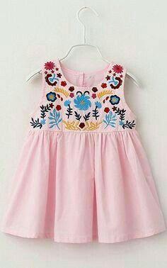Sweet Round Neck Sleeveless Embroidered Mini Dress For Girl Frocks For Girls, Little Girl Dresses, Girls Dresses, Girls Frock Design, Baby Dress Design, Toddler Dress, Toddler Outfits, Kids Outfits, Baby Dress Patterns