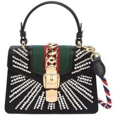 Gucci Women Mini Sylvie Embellished Silk Satin Bag (98 745 UAH) ❤ liked on Polyvore featuring bags, handbags, shoulder bags, black, multicolor handbags, colorful handbags, gucci shoulder bag, gucci purse and mini handbags