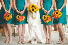 Sunflowers and teal