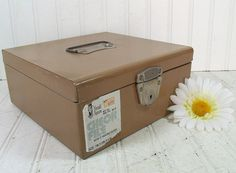Industrial Brown Metal Check File Box - Vintage Herald Square Sturdy Steel with Original Label Bin - Retro Art Show Cash Carrier Strong Box $14.00 by DivineOrders