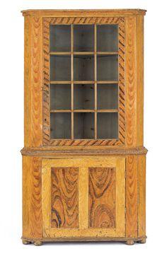 Pennsylvania painted pine corner cupbaord, ca. 1835