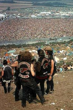 The Hell's Angels at Woodstock. Bethel, New York 1969 - sorry to say but there was not much peace with Hell's Angels around - fly in the oitment