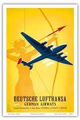 Vintage 1920/'s Lufthansa German Airline Poster Print A3//A4