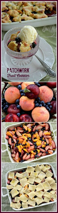 Patchwork Fruit Cobbler, a medley of peaches, plums, and blueberries with an easy to assemble patchwork crust made of squares of sugar-crusted pastry! #easy #summer #dessert