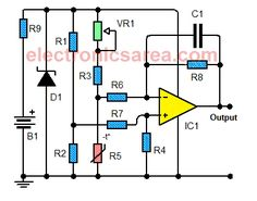 This temperature to voltage converter circuit, convert a temperature into a voltage level. It achieves an acceptable performance between 0 and