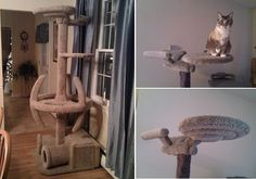 I've seen some pretty cool cat trees in my day but this is the first geeky one I have ever seen. Apparently a fellow lover of Star Trek and cats decided to build this amazing Star Trek themed cat tree. Cool Cat Trees, Cool Cats, Crazy Cat Lady, Crazy Cats, Earthy Home, Star Wars, Cat Condo, Star Trek Enterprise, Cat Furniture