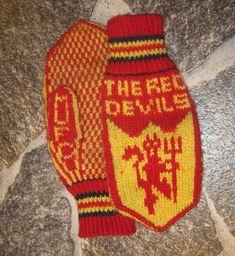 Perlestrikk: Manchester United - votter. Nå med gratis mønster. Free pattern MUFC mittens