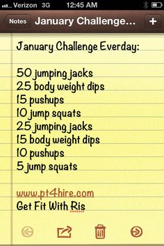 January 2013 Monthly Challenge Complete this workout everyday. Set your TIMER and time yourself. Your time should be getting better by the end of the month. Don't sacrifice form for speed. Good Luck!