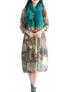 O-Newe Vintage Geometric Patterns Printed Long Sleeve O-Neck Dress For Women