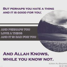 """Quran (2:216). """"But perhaps you hate a thing and it is good for you; and perhaps you love a thing and it is bad for you. And Allah Knows, while you know not."""""""