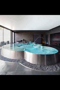 Modern Indoor swimming pool - Modern Overdekt binnenzwembad, zwembad, jacuzzi ♥ Fonteyn