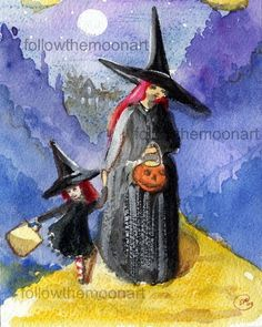 Vintage Night Witch Mom & Child Trick or Treating Wall Art Halloween Print  Booo