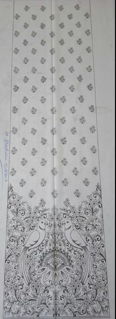 Gold Embroidery, Hand Embroidery Patterns, Henna Patterns, Dress Design Sketches, Sketch Design, Chicken Scratch Embroidery, Pencil Design, Hand Sketch, Rangoli Designs