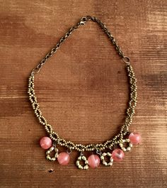 Antique Bronze Seed Beaded Necklace with Glass by Five17Designs