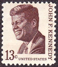 John F Kennedy 1967 Issue-13c - The 13 cent issue of 1967 was first issued in Brookline, Massachusetts, on May 29 of that year. The issue was designed by Stevan Dohanos, modeled after a photograph by Jacques Loew in the book The Kennedy Years. The 13-cent Kennedy stamp paid the rates for both foreign surface letters and air postcards.   Kennedy, like all other presidents up to and including President L.B. Johnson, was honored on the AMERIPEX commemorative issue of 1986.