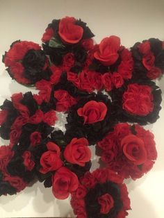 ELIXITA 6 Centerpieces Wedding Decoration Baby Shower Flowers Silk RED &  BLACK #ELIXITA